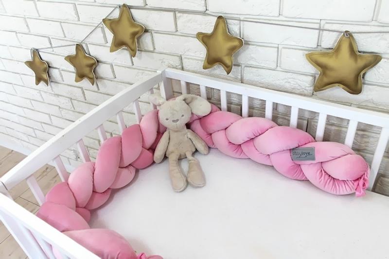 Mantinel Baby Nellys pletený cop velvet - světle růžový