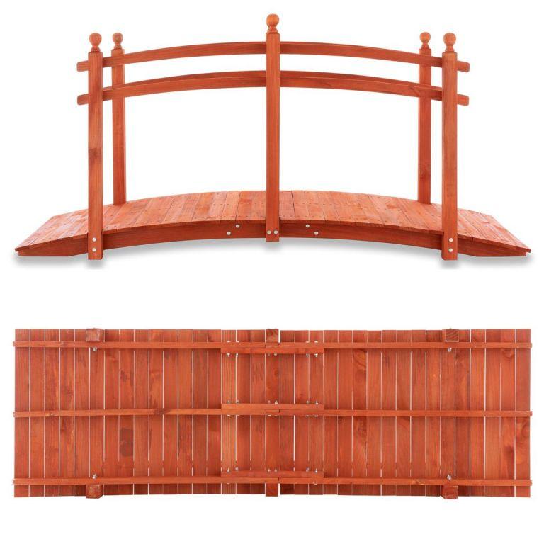 Zahradní dřevěný můstek se zábradlím - 235 x 75 x 109 cm