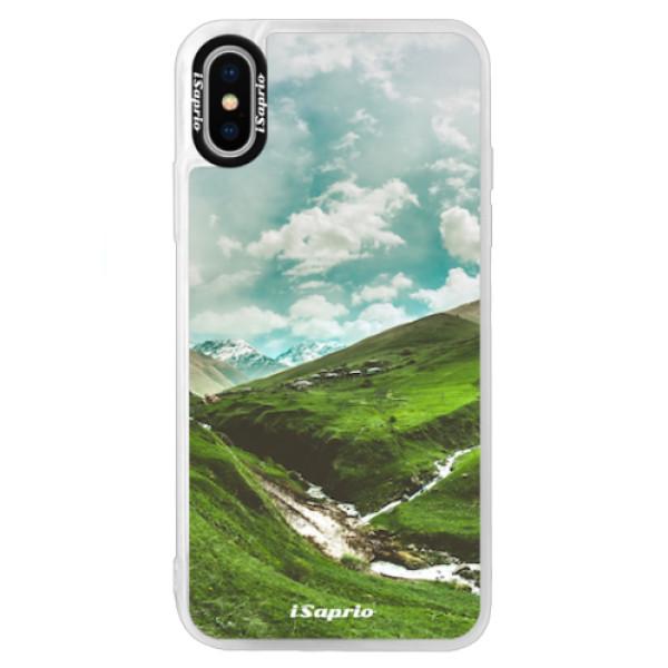 Neonové pouzdro Blue iSaprio - Green Valley - iPhone XS