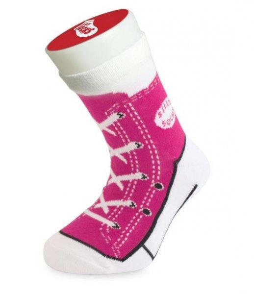 Dětské bláznivé ponožky - basket-růžová