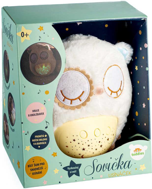 PLYŠ Baby sovička usínáček 25cm projektor na baterie Světlo Zvuk pro miminko