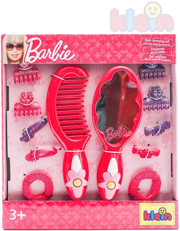 KLEIN Set kadeřnický plastový Barbie hřeben zrcátko sponky