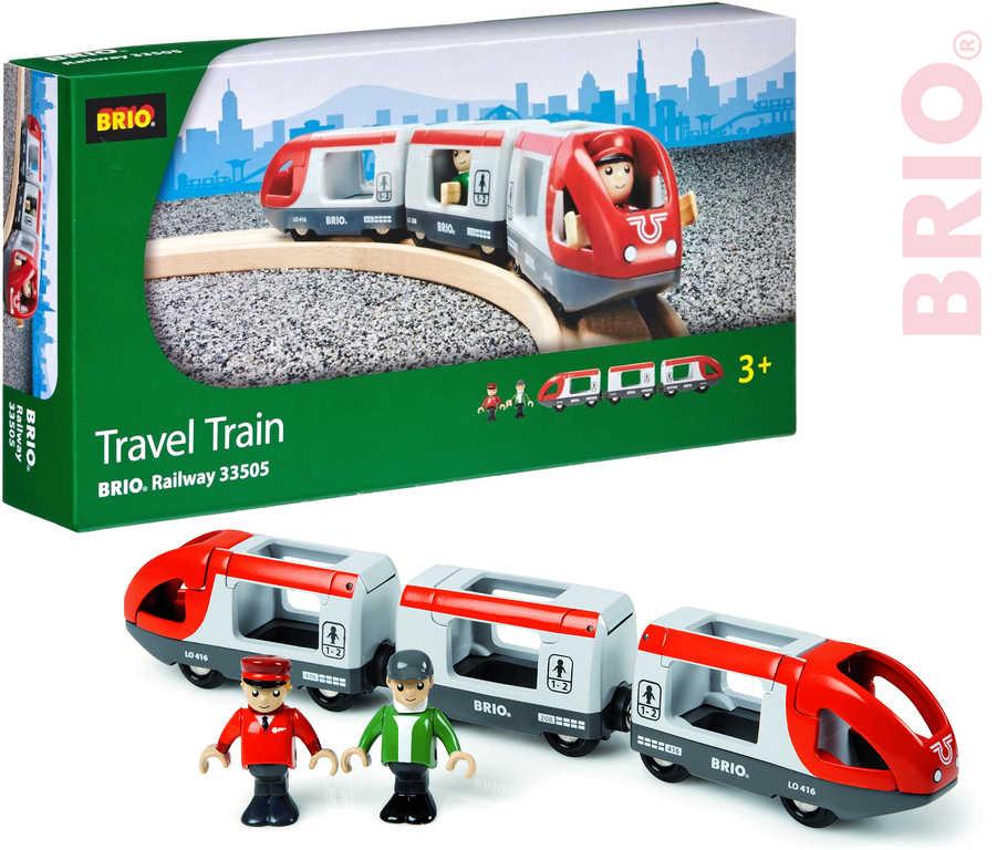 BRIO DŘEVO Vlak osobní s vagonky set 5ks se 2 panáčky v krabici