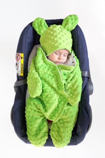 Baby Nellys Fusak, spacáček do autosedačky nebo kočárku s oušky, minky - sv. zelený