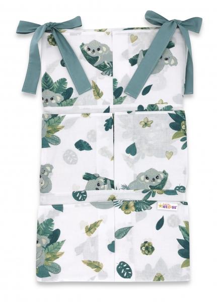 Bavlněný kapsář na postýlku Baby Nellys 6 kapes, Tropical Koala, zelená, bílá