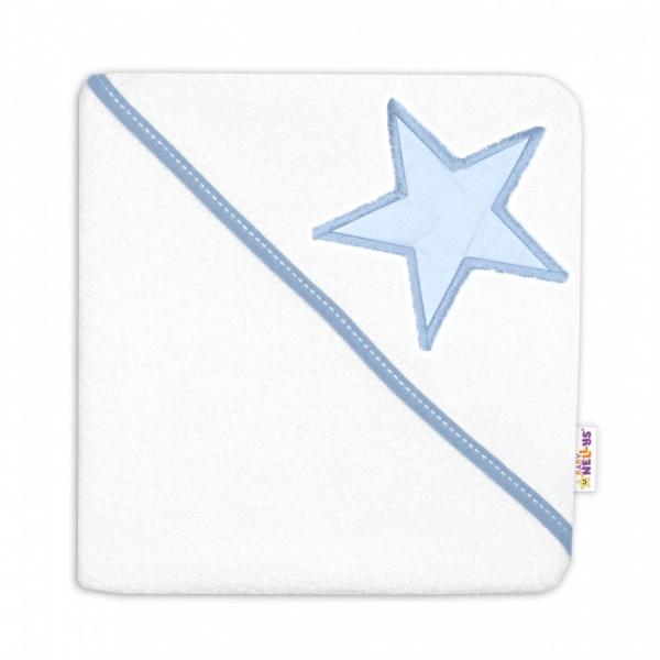 baby-nellys-detska-termoosuska-baby-stars-s-kapuci-80-x-80-cm-bila-modra