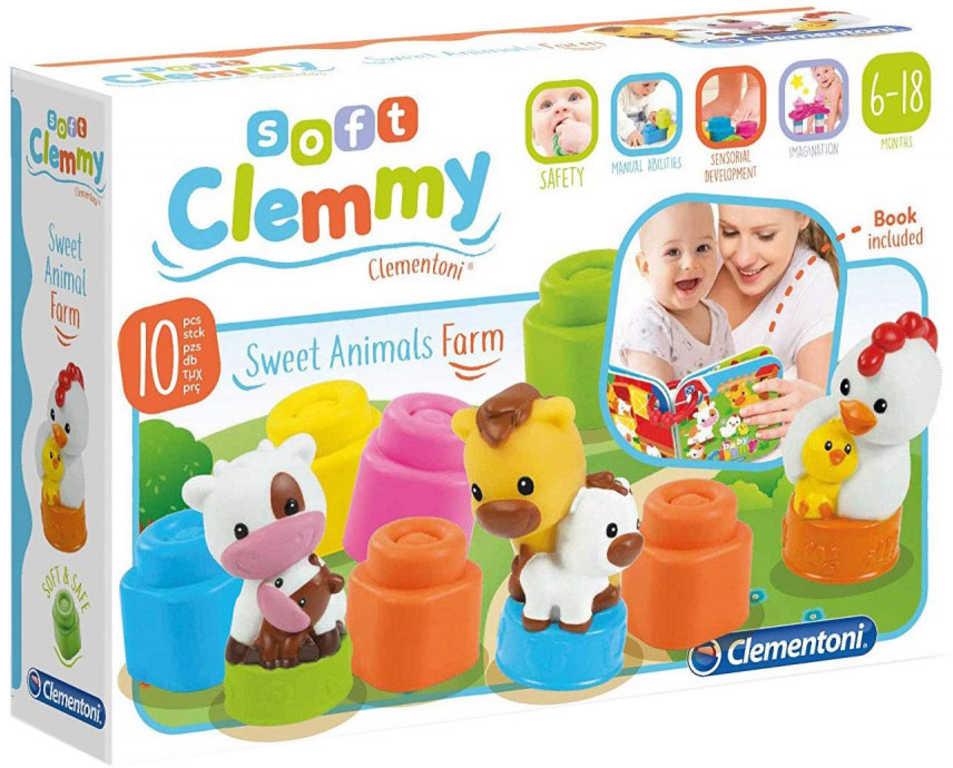 CLEMENTONI CLEMMY Set baby kostky gumové vonící + knížka hospodářská zvířátka