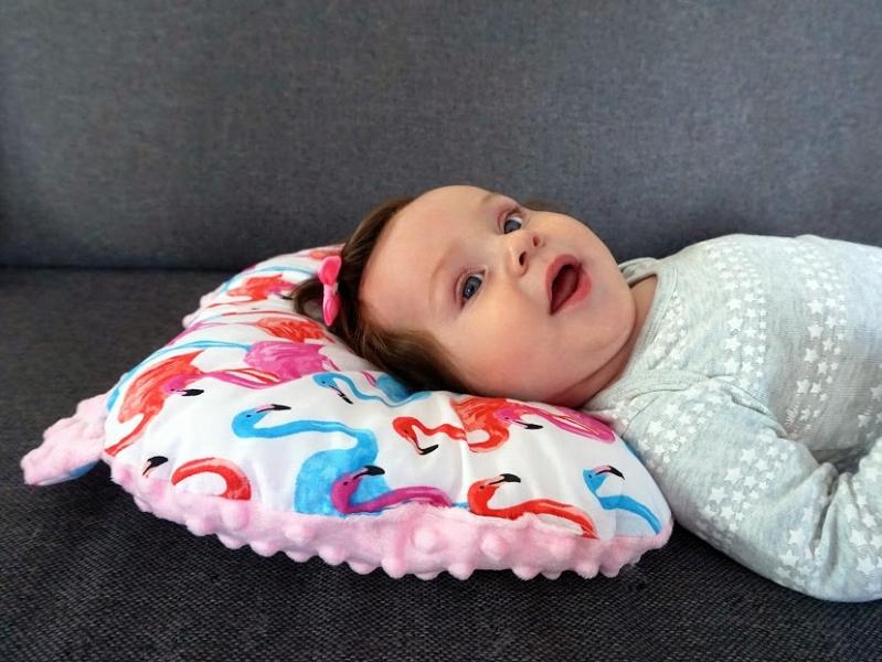Baby Nellys Oboustranný polštářek s oušky, 30x35cm - Hvězdičky ,minky modrá/mátová