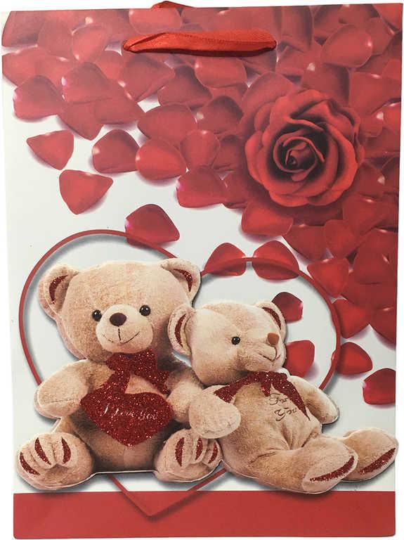 3D Taška dětská dárková Medvídci Love 18x24cm 4 druhy karton