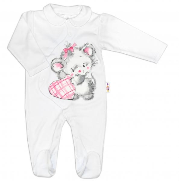 Baby Nellys Bavlněný kojenecký overal Mouse Love - bílý, vel.