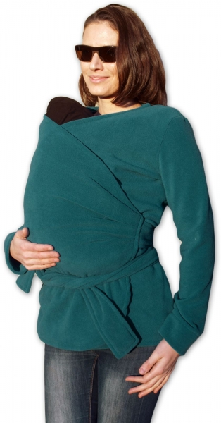 JOŽÁNEK Zavinovací kabátek pro nosící, těhotné - fleece - petrolejový - L/XL
