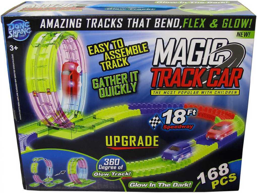 Magic Track Dráha magická svítící ve tmě set 168ks s autíčkem na baterie Světlo