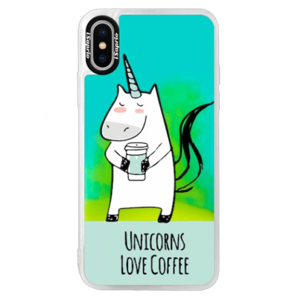 Neonové pouzdro Blue iSaprio - Unicorns Love Coffee - iPhone XS