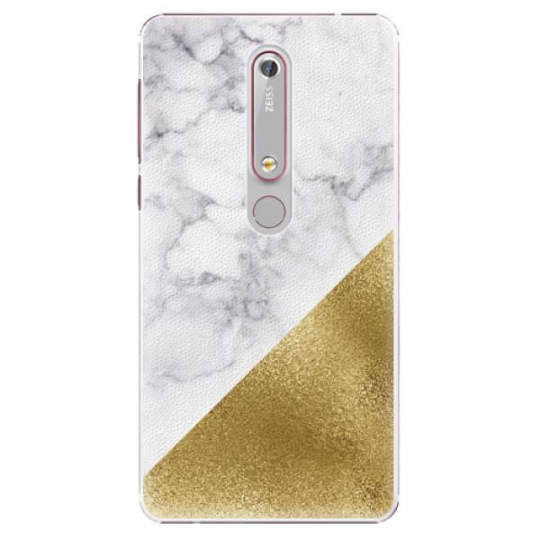Plastové pouzdro iSaprio - Gold and WH Marble - Nokia 6.1