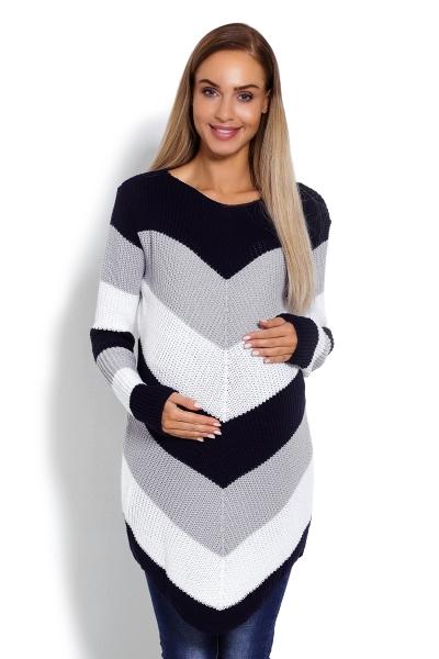 Prodloužený těhotenský svetřík, šikmé pruhy - granát - UNI