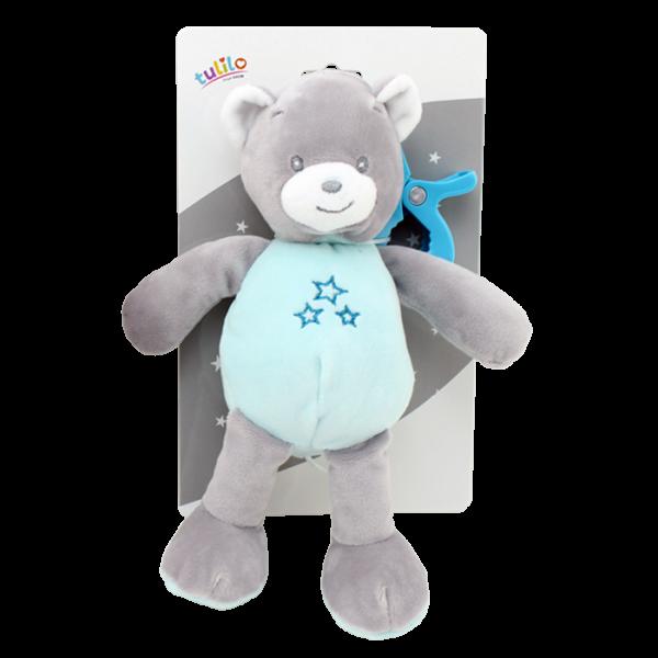 Závěsná plyšová hračka Tulilo s chrastítkem Medvídek, 25 cm - mátový