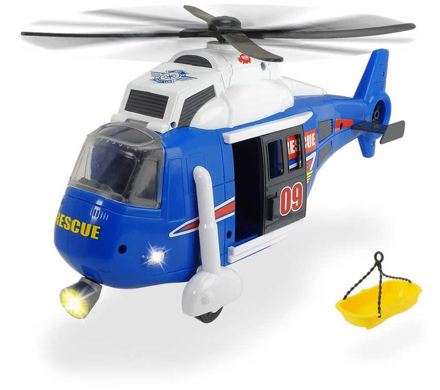 DICKIE Vrtulník záchranářský 41cm funkční s lehátkem na baterie Světlo Zvuk