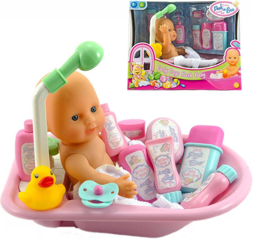 Miminko koupací set panenka s vaničkou 30cm a doplňky v krabici
