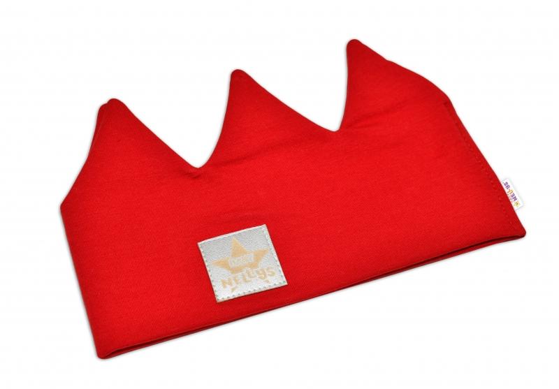 Baby Nellys Hand Made Bavlněná čelenka - dvouvrstvá, Korunka - červená