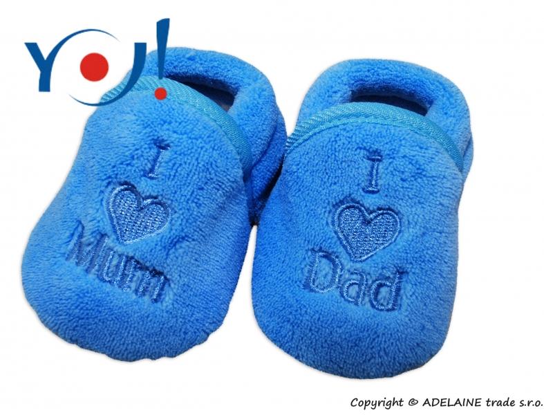 Botičky/ponožtičky YO ! I LOVE - modré - 74 (6-9m)/80 (9-12m)/86 (12-18m)