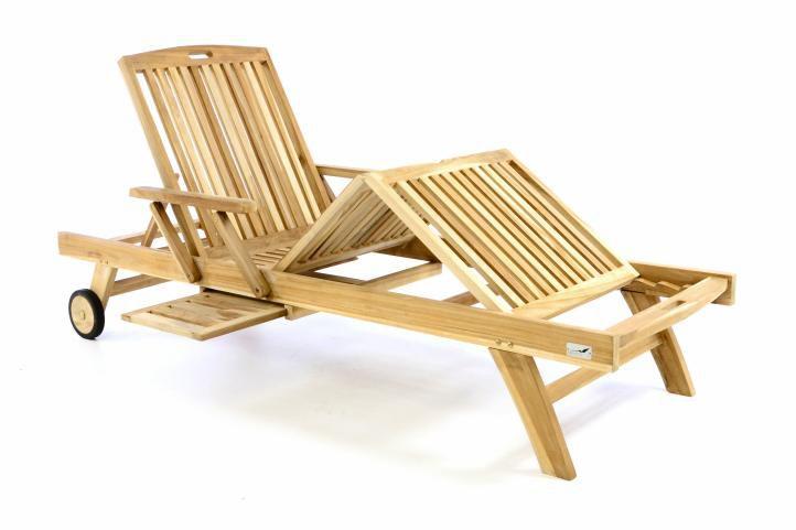 Luxusní dřevěné lehátko DIVERO - týkové dřevo