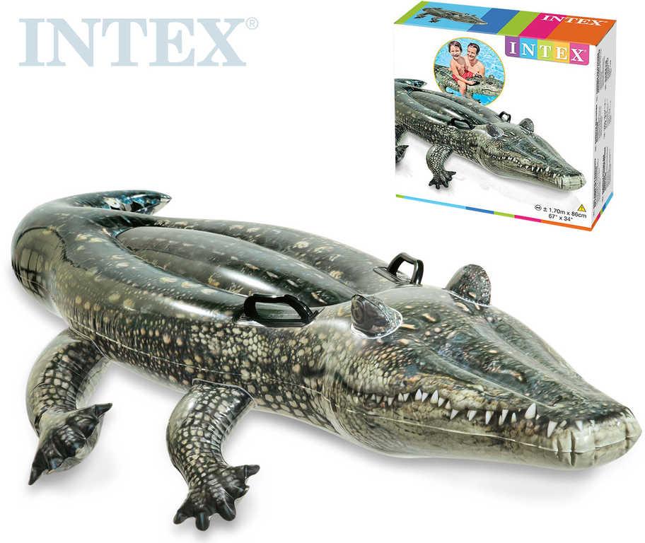 INTEX Krokodýl nafukovací s úchyty 170x86cm dětské vozítko do vody 57551