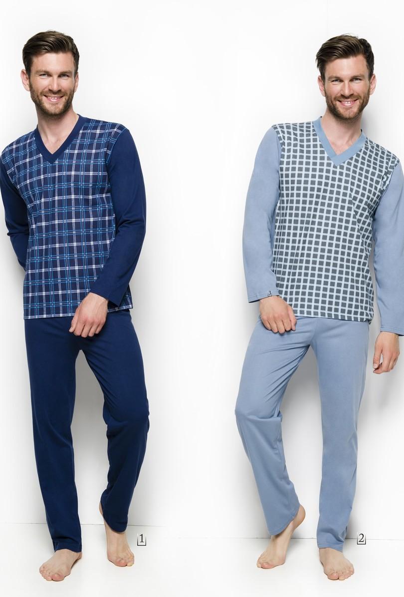 004 Dlouhé pánské pyžamo ROMAN 2XL-3XL - Šedomodrá/2XL