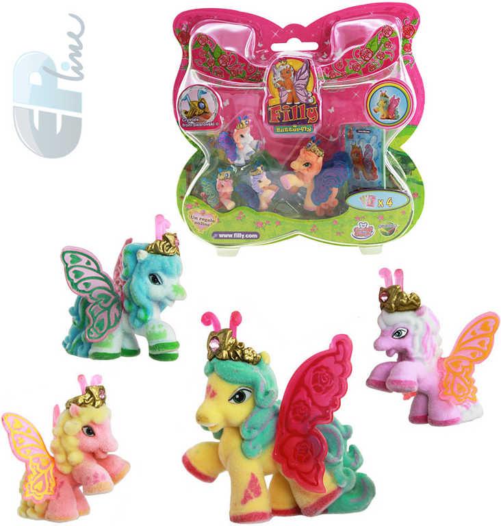 EP Line Filly Butterfly rodinka koník + 3 baby koníci set s letáčkem a 4 kartami 12 druhů