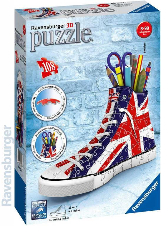 RAVENSBURGER Puzzle 3D Kecka Union Jack stojánek vlajková edice 108 dílků