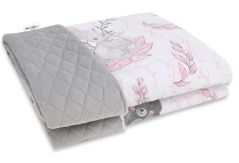 baby-nellys-oboustranna-prosivana-deka-bavlna-velvet-100x70cm-lulu-natural-sedo-ruzova