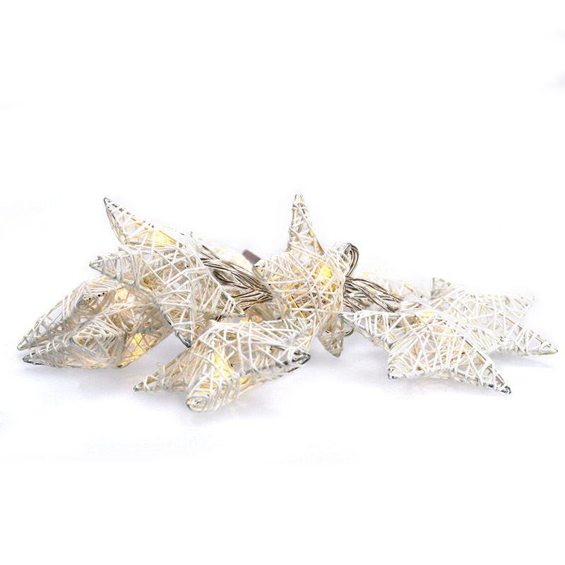 Solight LED řetěz vánoční hvězdy bílé proplétané, 10LED, 1m, 2x AA, IP20