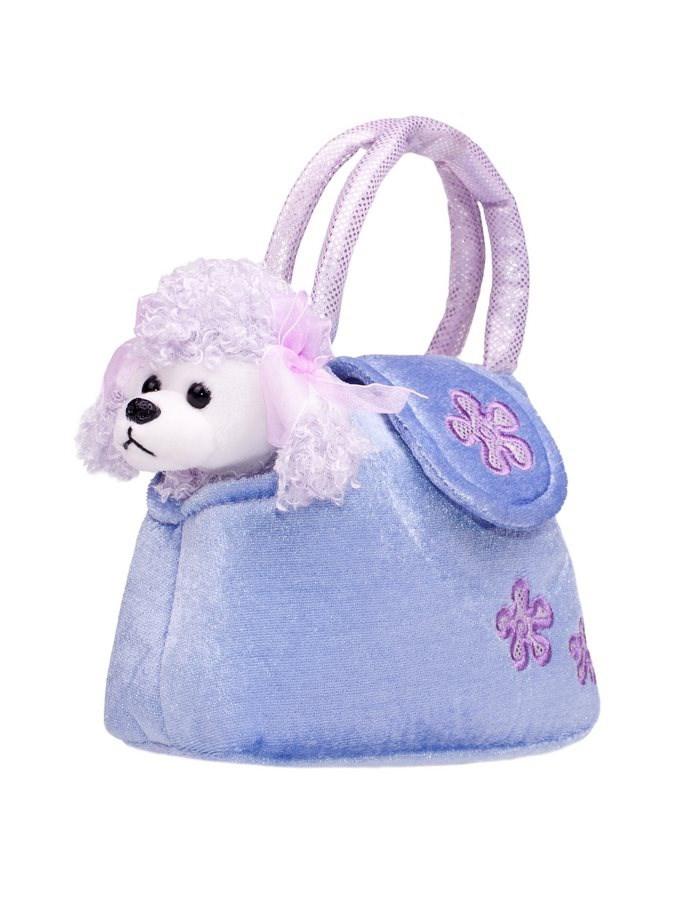 Dětská plyšová hračka PlayTo Pejsek v kabelce - fialová