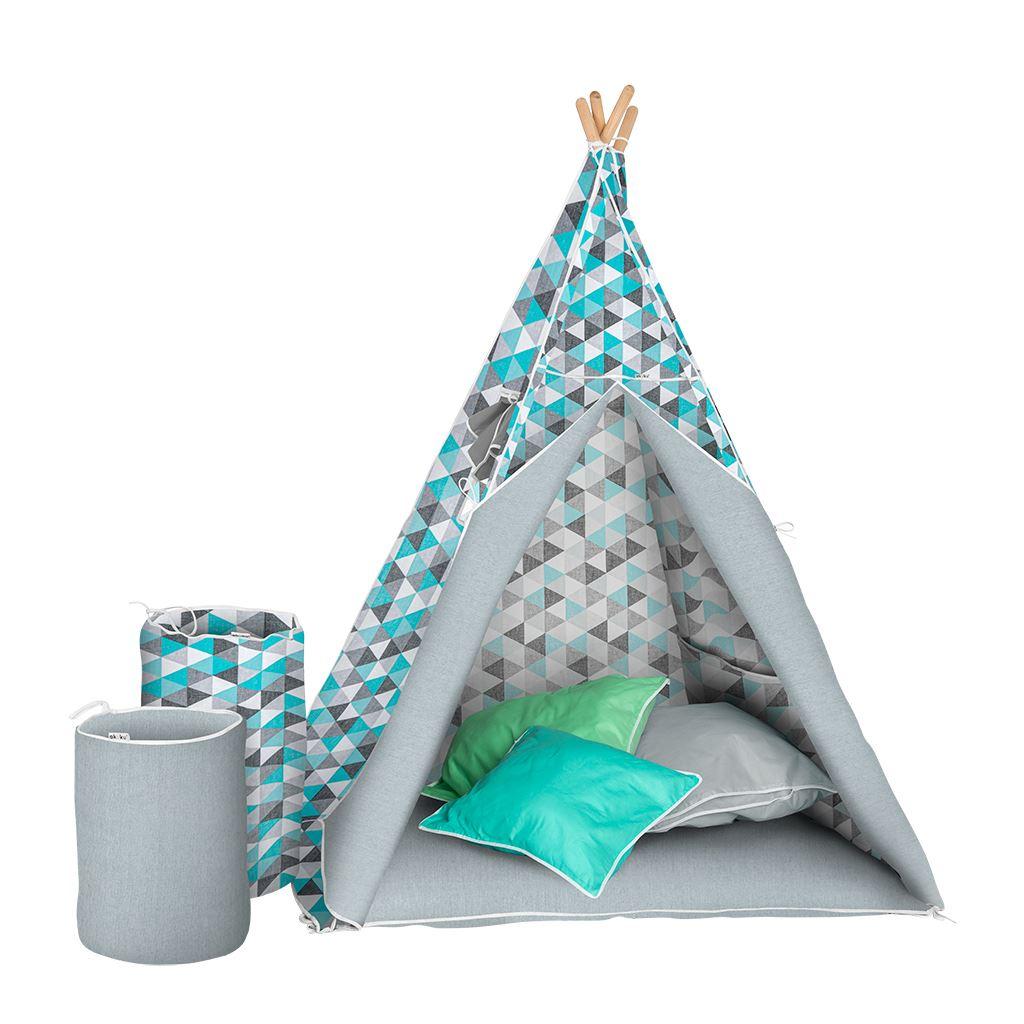 Dětský luxusní stan s výbavou Teepee Akuku tyrkysovo-šedý - modrá
