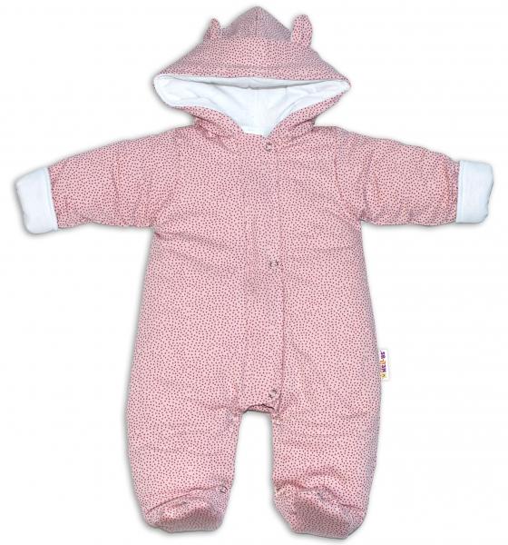 Baby Nellys ® Kombinézka s kapucí a oušky, Puntíky