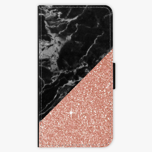 Flipové pouzdro iSaprio - Rose and Black Marble - Huawei Ascend P8