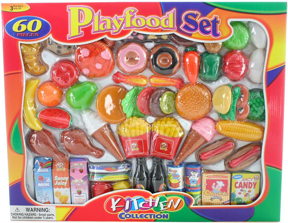 Jídlo velký herní set 60ks makety potravin zelenina a ovoce v krabici