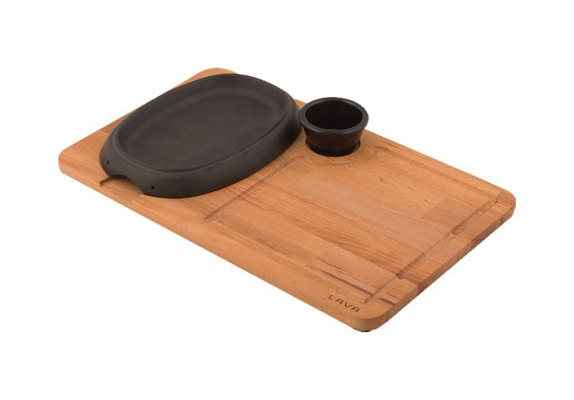 Litinový talíř 12x19 cm s velkým dřevěným podstavcem