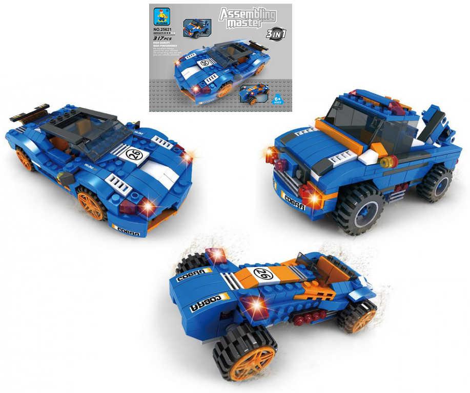 AUSINI Stavebnice ASSEMBLING 3v1 závodní auta formule 317 dílků plast