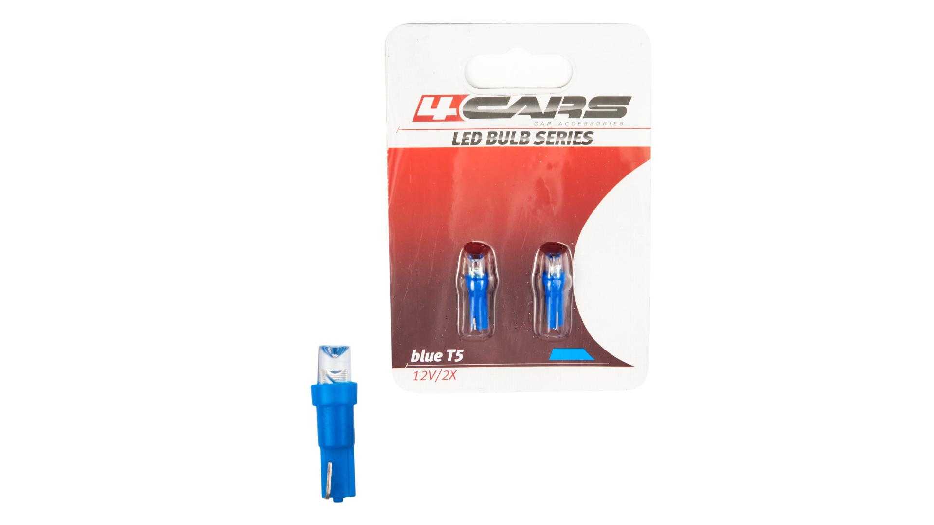 4CARS LED žárovka 1LED 12V T5 modrá