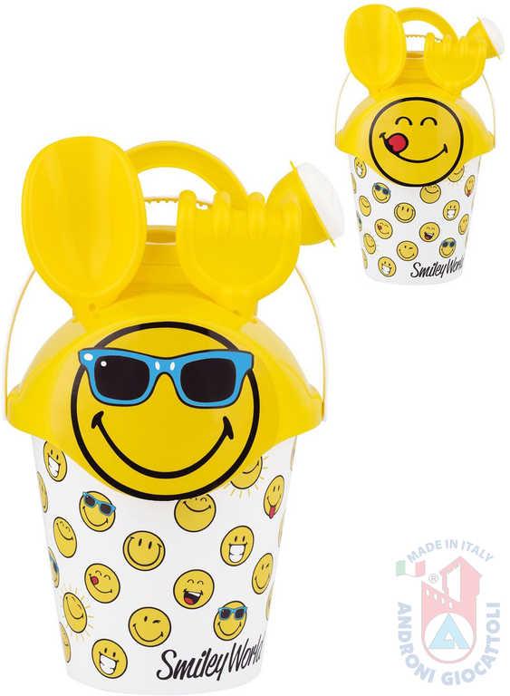 ANDRONI Baby pískový set žlutý smajlík s kyblíkem a konvičkou různé druhy