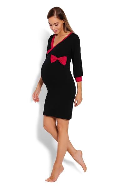 Be MaaMaa Pohodlná těhotenská, kojící noční košile s mašlí - černá, vel. XXL - XXL (44)