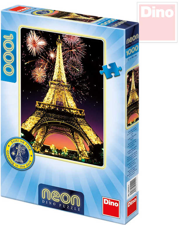 DINO Puzzle Noční Eiffelova věž neon svítící set 1000 dílků v krabici