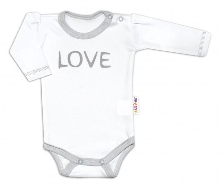 Baby Nellys Body dlouhý rukáv Love - bílé - 50 (0-1m)