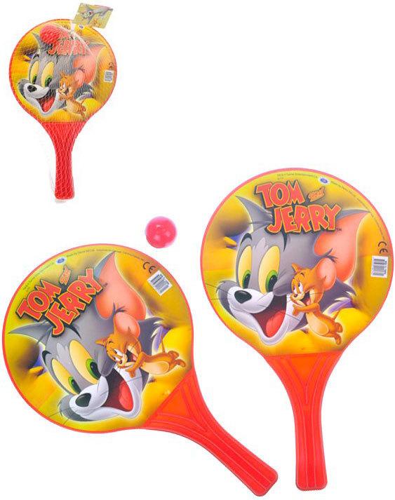Pálky na plážový tenis Tom a Jerry set 2ks s míčkem v síťce plast