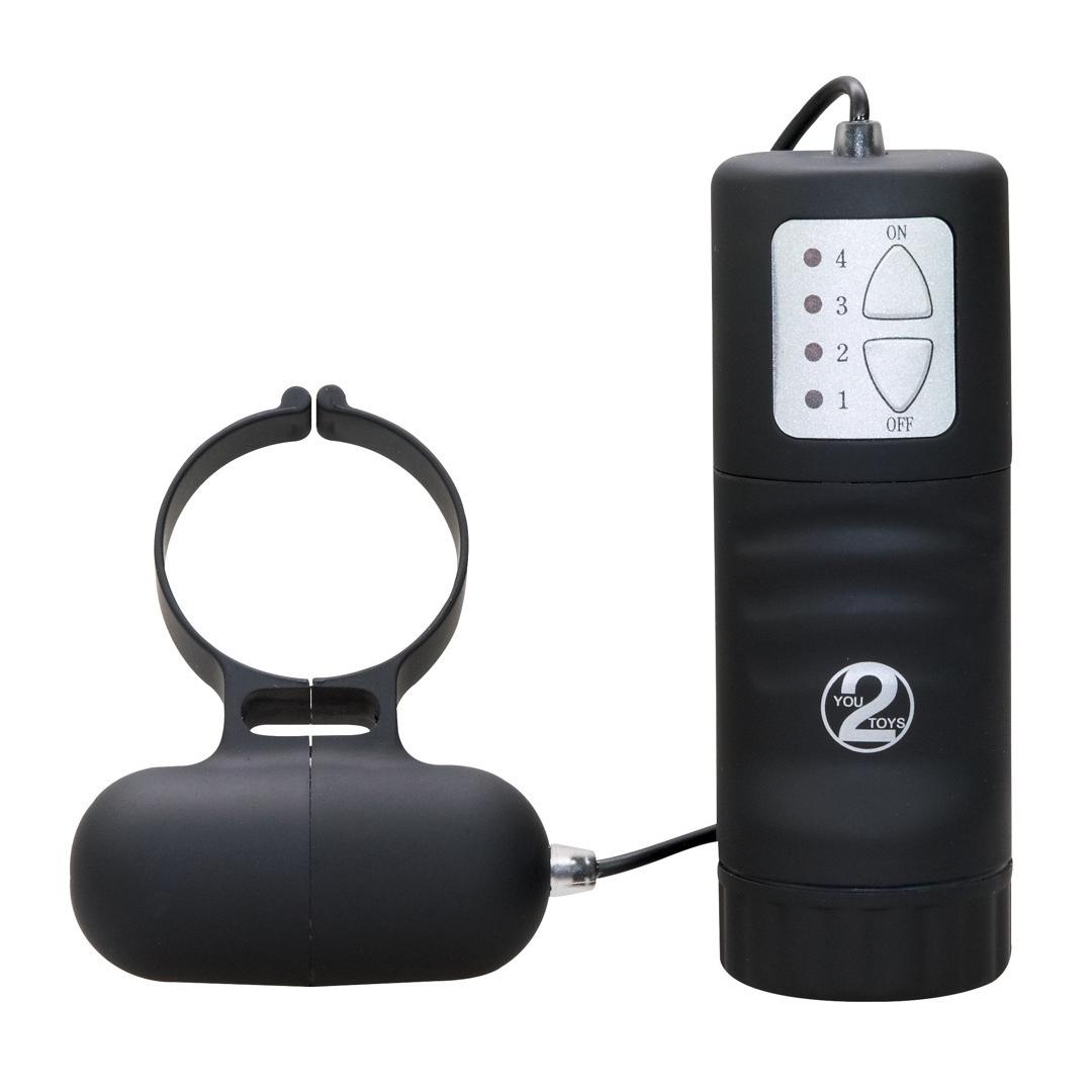 Vodotěsný černý vibrační kroužek na ovládání - Aqua Silks Cockring