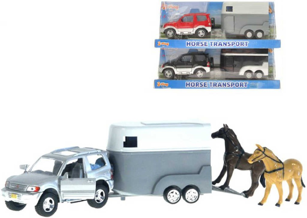 Auto Mitsubishi Pajero set s přívěsem + 2 koně 2-Play 3 barvy v krabičce kov