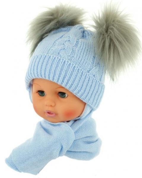 Zimní čepička s šálou - chlupáčkové bambulky - sv. modrá - 0/4měsíců