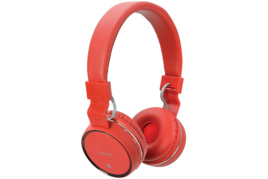 AV:link PBH-10 bezdrátová Bluetooth SD sluchátka, červená