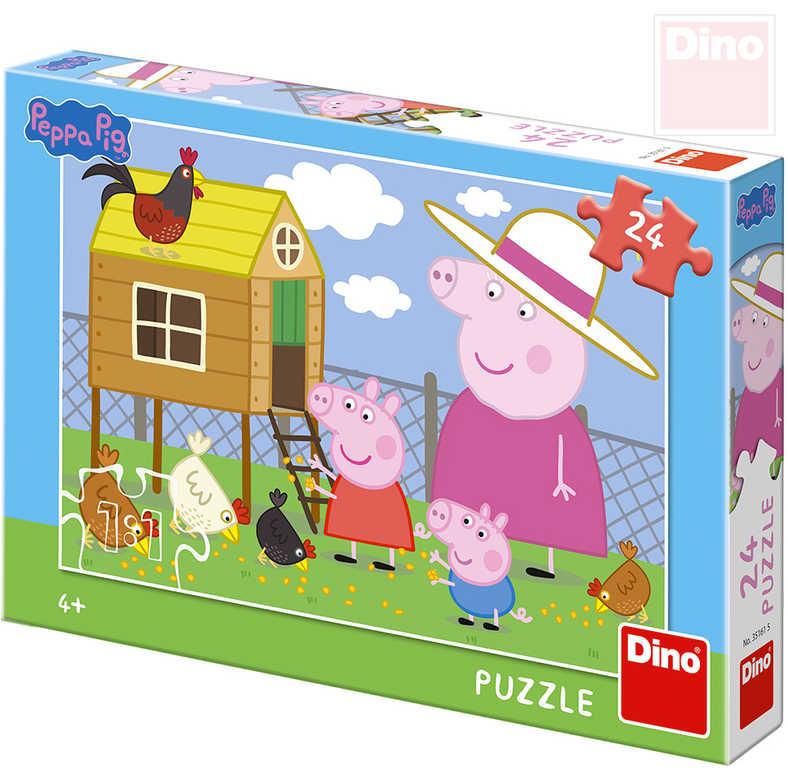 DINO Puzzle 24 dílků Peppa Pig Slepičky 26x18cm skládačka v krabici