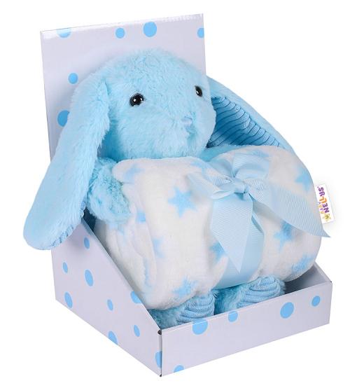 baby-nellys-detska-sada-deka-plysova-hracka-kralicek-modra
